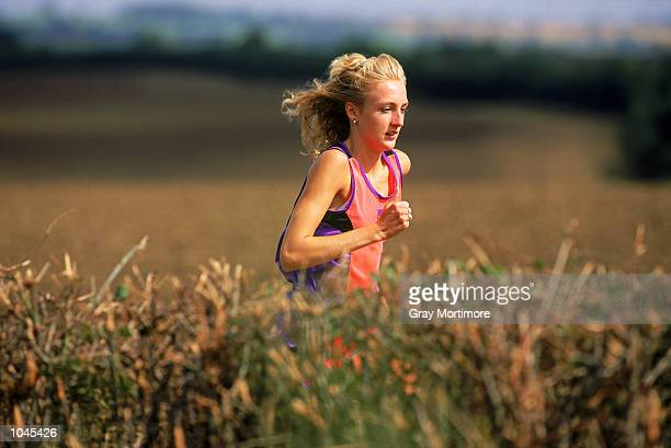 Portrait of Paula Radcliffe of Bedford and County Athletics Club running near her home during a feature in Oakley Bedfordshire England August 1992