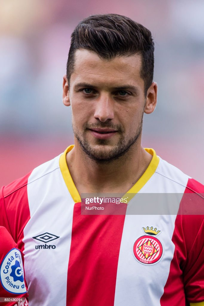 Portrait of Pedro Alcala from Spain of Girona FC during the Costa Brava Trophy match between Girona FC and Manchester City at Estadi de Montilivi on August 15, 2017 in Girona, Spain.