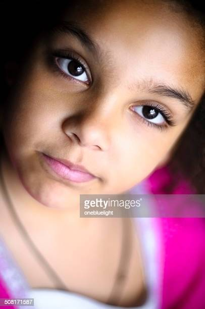 people: portrait of pensive 7 years old girl. - 8 9 years stock pictures, royalty-free photos & images
