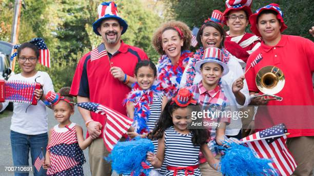 Portrait of people celebrating 4th of July in park