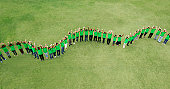 Portrait of people in green t-shirts forming wavy line in field