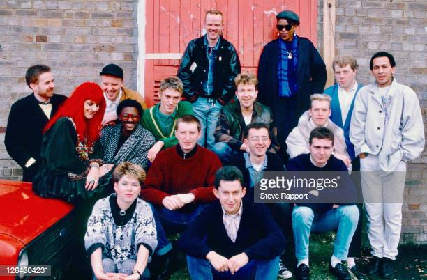Portrait of performers on the Red Wedge Tour 12/1/1985. Pictured are, back row Jimmy Somerville and Lorna Gee; second row, Jerry Dammers, Joolz,...
