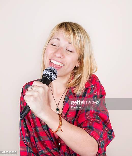 Portrait of person singing