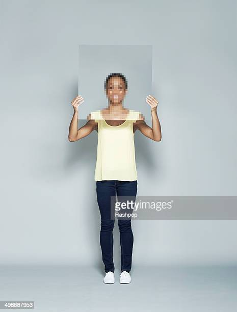 portrait of person with pixelated face - obscured face stock pictures, royalty-free photos & images
