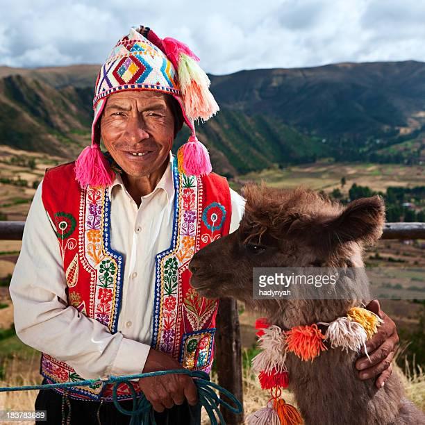 Porträt von peruanischen Mann in der Nähe von Pisac, Heilige Tal in Peru
