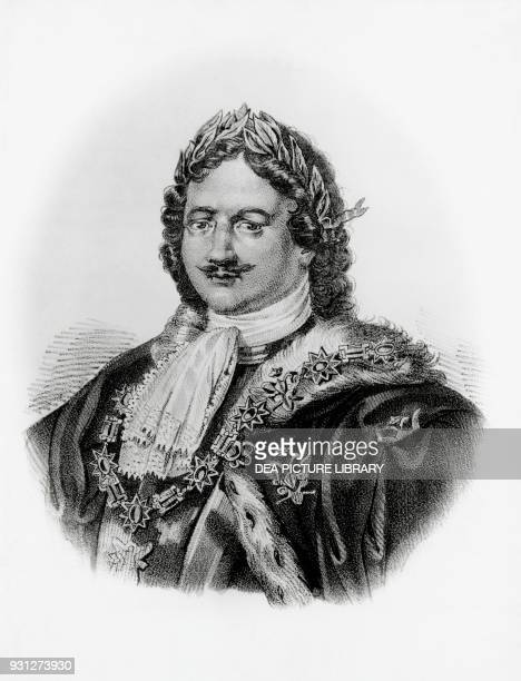 Portrait of Peter I the Great Tsar of Russia 16821725 lithograph