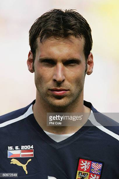 Portrait of Petr Cech of the Czech Republic prior to the UEFA Euro 2004 Group D match between Czech Republic and Latvia at the Estadio Municipal de...