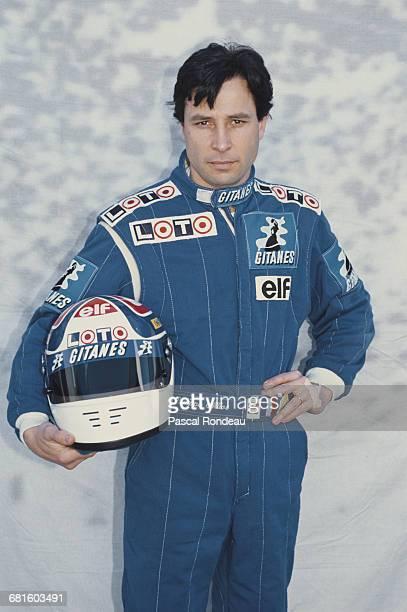 Portrait of Philippe Alliot of France driver of the Ligier Gitanes Ligier JS33B Ford Cosworth DFR V8 during pre season testing on 10 February 1990 at...