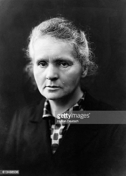 Portrait of physicist Madame Marie Curie She was the first woman to be awarded the Nobel Prize for physics for the work on radioactive elements with...