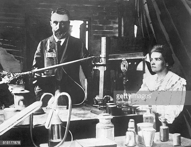 Portrait of Pierre and Marie Curie in laboratory Undated photograph