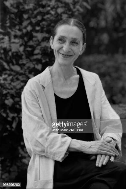 Portrait of Pina Bausch a german performer of modern dance choreographer dance teacher and ballet director here during a press conference during the...