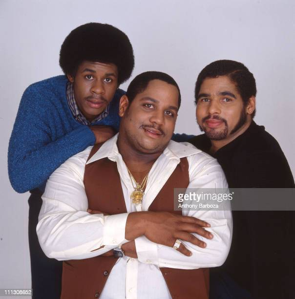 Portrait of pioneering American hip hop group The Sugar Hill Gang from left Guy 'Master Gee' O'Brian Henry 'Big Bank' Jackson and Michael 'Wonder...