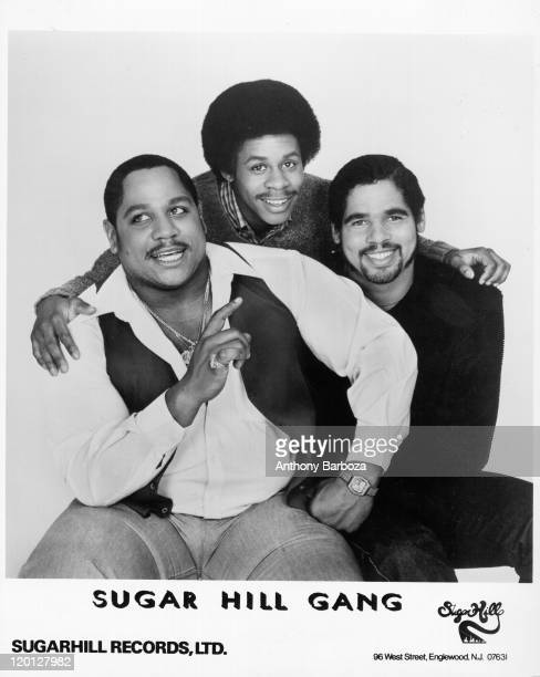 Portrait of pioneering American hip hop group The Sugar Hill Gang from left Henry 'Big Bank' Jackson Guy 'Master Gee' O'Brian and Michael 'Wonder...
