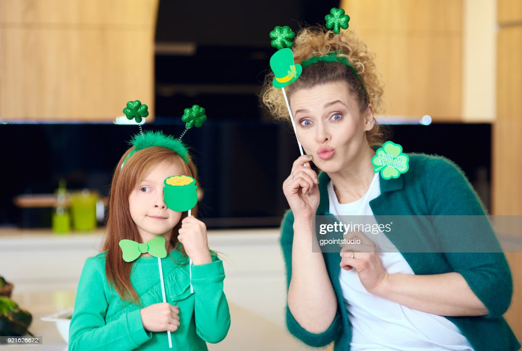 Portrait of playful mother with daughter : Stock Photo