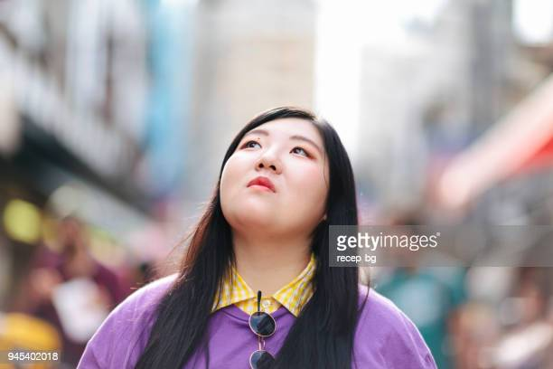 portrait of plus size japanese woman - chubby asian woman stock pictures, royalty-free photos & images
