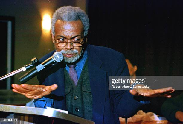 Portrait of poet Amiri Baraka speaking at the 13th annual Gwendolyn Brooks Writers' Conference held at Chicago State University 2003
