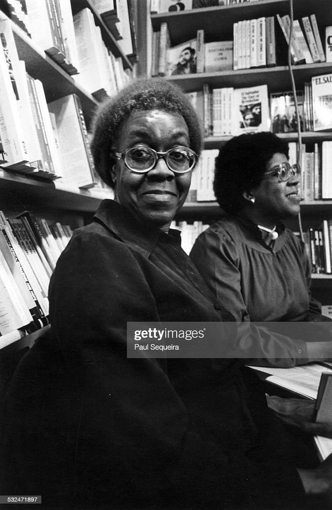 Portrait of poet Gwendolyn Brooks at Guild Books bookstore in Lincoln Park, Chicago, Illinois, 1980s.