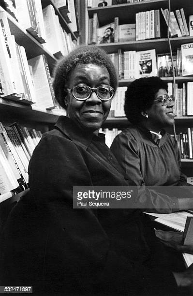 Portrait of poet Gwendolyn Brooks at Guild Books bookstore in Lincoln Park Chicago Illinois 1980s