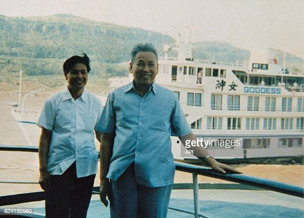 Portrait of Pol Pot aboard The Goddess a Chinese ship stationing in an harbour at the East of Beijing in China in 1988