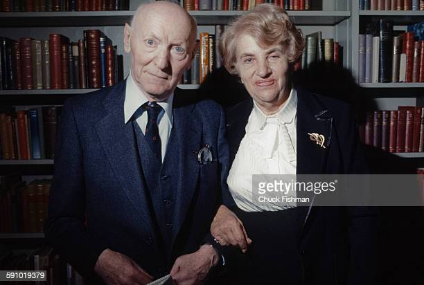 Portrait of Polishborn American author Isaac Bashevis Singer and his wife Alma as they attend a reception hosted by members of the local Jewish...