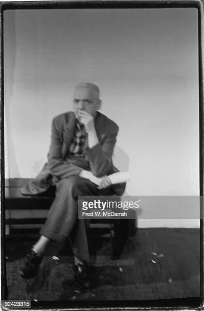 Portrait of Polishborn American photographer Arthur 'Weegee' Fellig as he smokes a cigarette April 8 1966