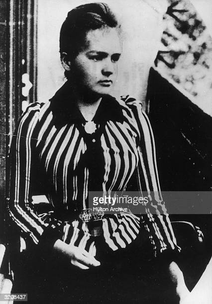 Portrait of Polishborn chemist Maria Sklodowska aged 24 wearing a striped blouse a few months after her arrival in Paris