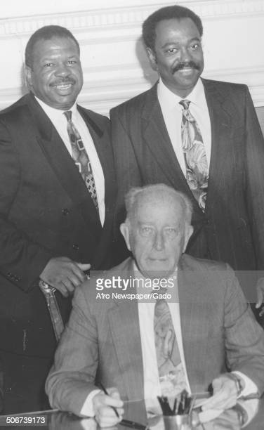 Portrait of politician and Maryland congressional representative Elijah Cummings Ralph Hughes and former Baltimore City mayor William Donald Schaefer...