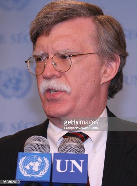 Portrait of politician John Bolton speaking at the United Nations headquarters in New York City New York May 9 2006