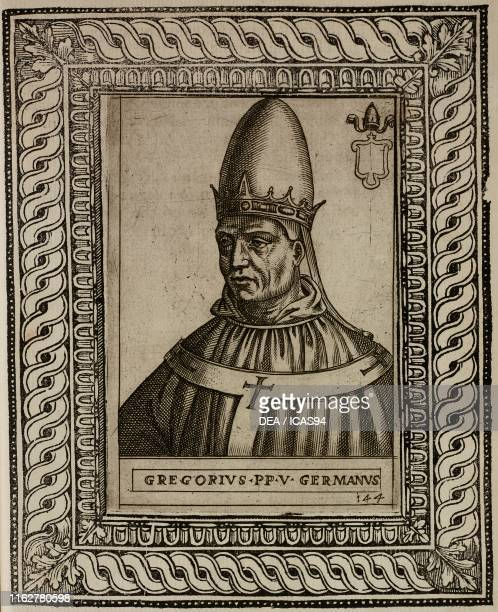 Portrait of Pope Gregory V , engraving from Le vite de pontefici di Antonio Ciccarelli Rome.