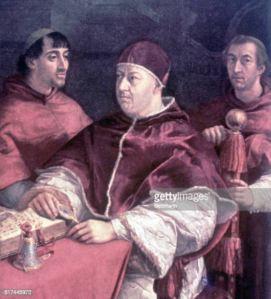 Portrait of Pope Leo X with Cardinal Rossi and Giulio de Medici. Painting by Raphael, ca. 16th Century. Florence, Palazzo Pitti Gallery.