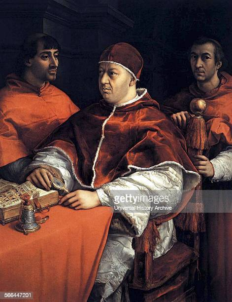 Portrait of Pope Leo X with the Cardinals Giulio de' Medici and Luigi de' Rossi Painted by Raphael Dated 16th Century
