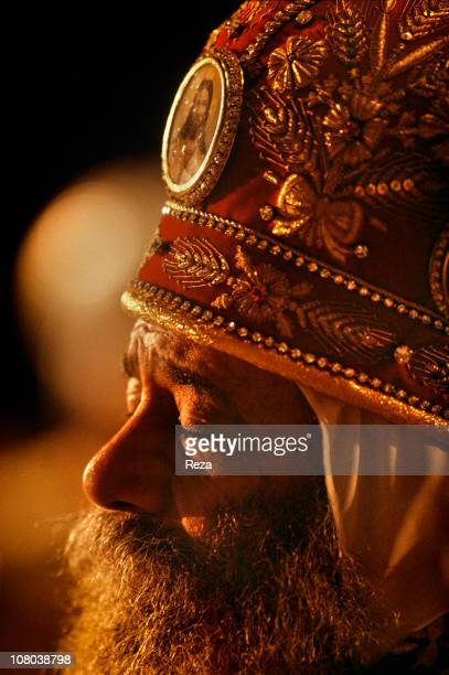 Portrait of Pope Shenouda III during the Coptic Christmas ceremony celebrated in the Cathedral of St Mark in Cairo on the night of 6th to 7th January...