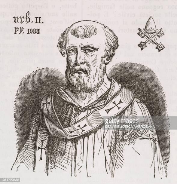 Portrait of Pope Urban II engraving from L'album giornale letterario e di belle arti November 13 Year 14
