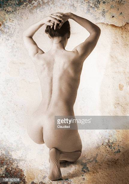 portrait of posing naked woman's backside - old nudists stock pictures, royalty-free photos & images