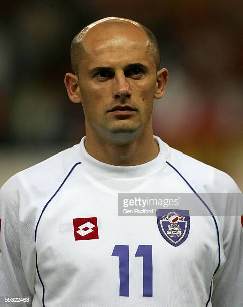 A portrait of Predrag Djordjevic of Serbia Montenegro during the 2006 World Cup qualifying match between Spain and Serbia and Montenegro at the...