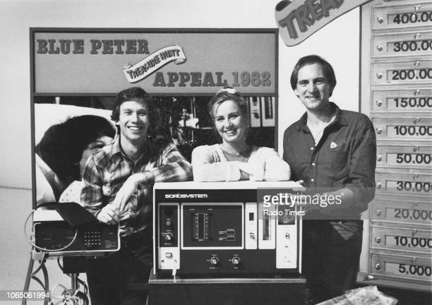 Portrait of presenters Peter Duncan Sarah Greene and Simon Groom on the set of the children's television series 'Blue Peter' November 22nd 1982