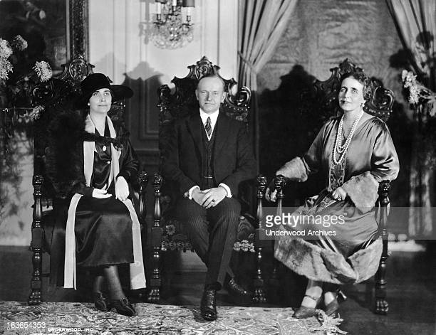 Portrait of President and Mrs Coolidge and visiting royalty to America, Queen Marie of Romania, Washington DC, October 19, 1926. The photograph was...