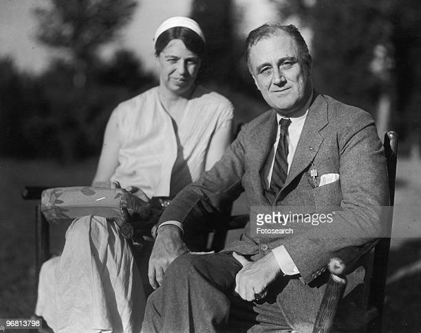 Portrait of President Franklin D Roosevelt and wife Eleanor Roosevelt seated in garden circa 1930s