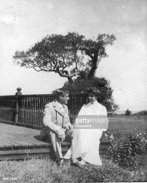 Portrait of President Franklin D Roosevelt and wife Eleanor Roosevelt seated on porch circa 1904