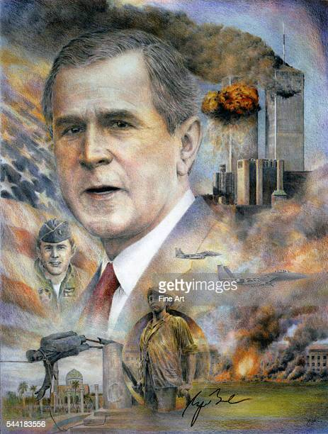 Portrait of President George W Bush with a montage of events from his presidency Pencil drawing