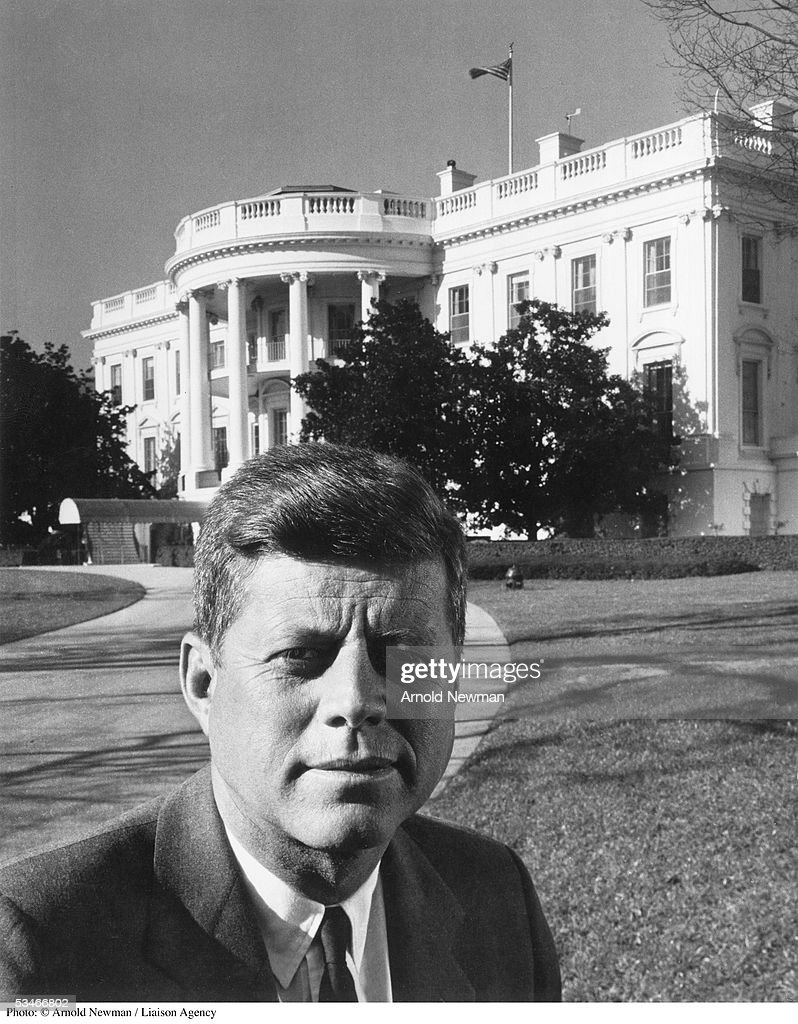 Portrait of President John F. Kennedy in front of the White House November 28, 1961 in Washington, DC.