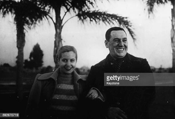 Portrait of President Juan Peron of Argentina and his wife Eva Peron circa 1947