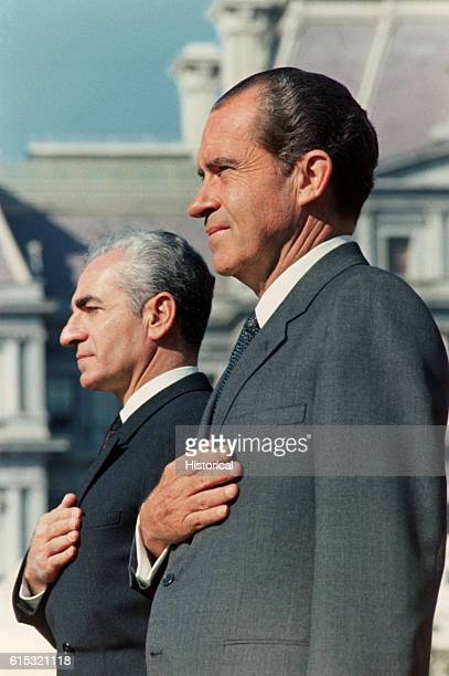 Portrait of President Nixon and the Shah of Iran during a ceremony