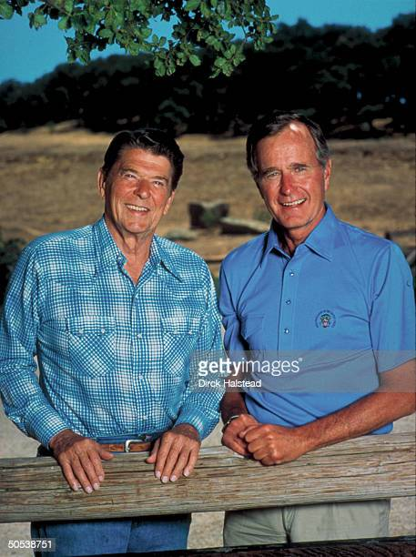 Portrait of President Ronald Reagan and Vice President George Bush outside on Reagan's ranch