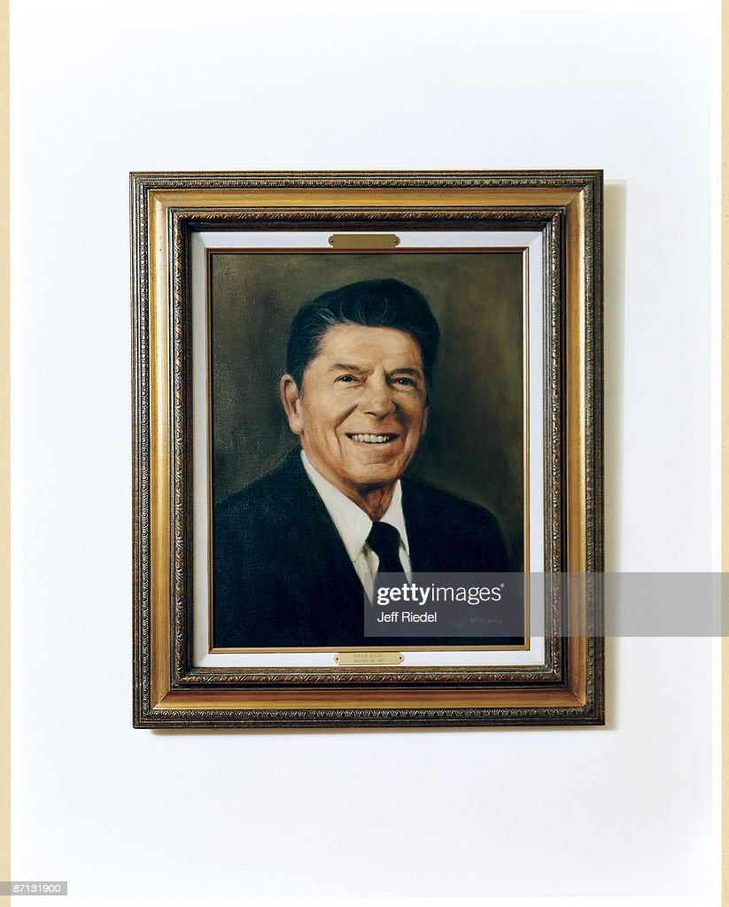ronald reagan library by jeff riedel for gq conde nast  portrait of president ronald reagan hanging in the reagan library in simi valley california