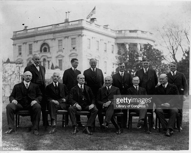 A portrait of President Warren Harding Vice President Calvin Coolidge and the members of the cabinet Washington DC 19211923