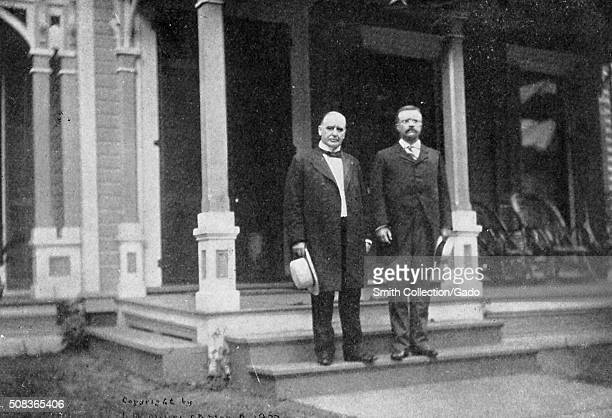 Portrait of President William McKinley and Vice President Theodore Roosevelt standing on the steps in front of President McKinley's home, Canton,...