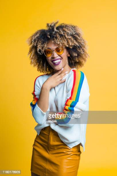 portrait of pretty afro young woman - funky stock pictures, royalty-free photos & images