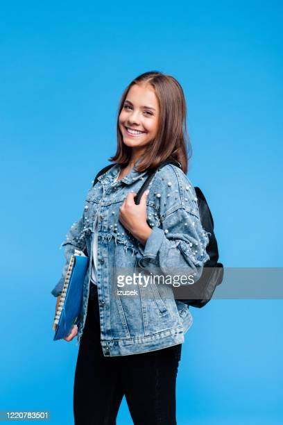 portrait of pretty female high school student - white jacket stock pictures, royalty-free photos & images