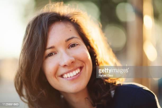 portrait of pretty happy woman - no make up stock pictures, royalty-free photos & images